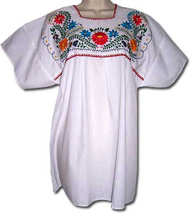White Women's Mexican embroidered blouse M