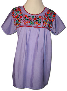 Lavender Women's Mexican embroidered blouse S