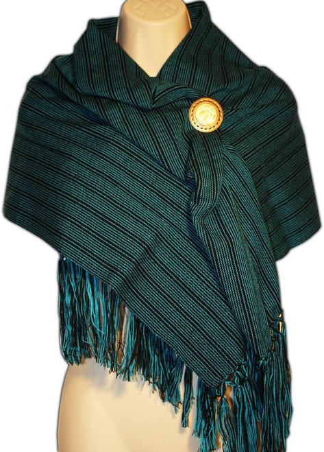 Mexican Rebozo Women's  Shawl Green Stripe
