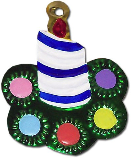 Mexican Tin Christmas Ornament - Candle Wreath