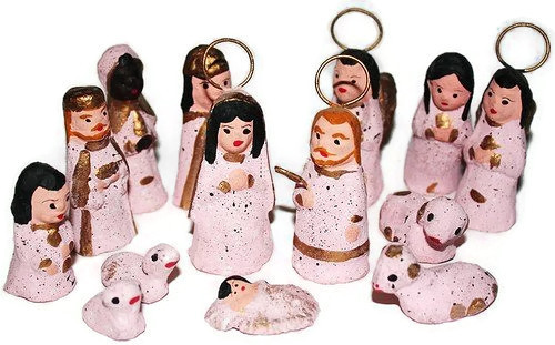 Mexican Nativity Christmas Creche - Pink