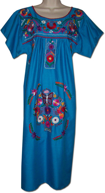 Blue Mexican Women's Embroidered Dress XL