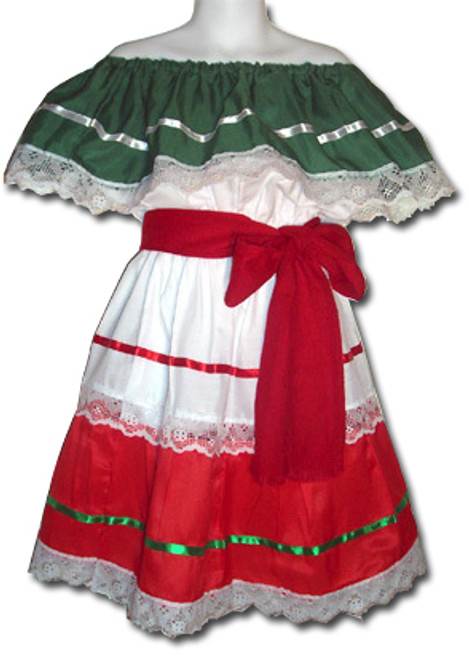 Girl's Mexican Fiesta Traditional Dress Size 10