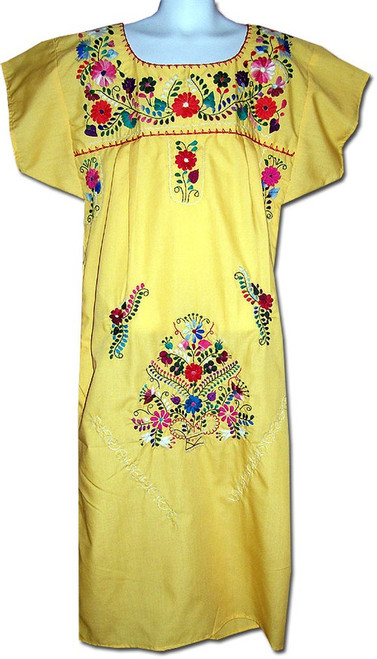 Girl's Mexican Fiesta Embroidered Dress Yellow Size 4