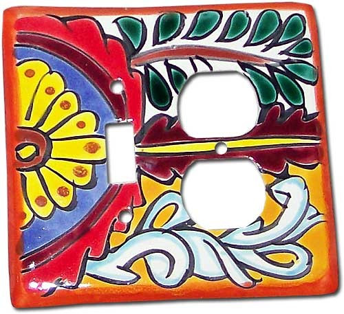 Mexican Talavera Lightswitch Orange Outlet Cover