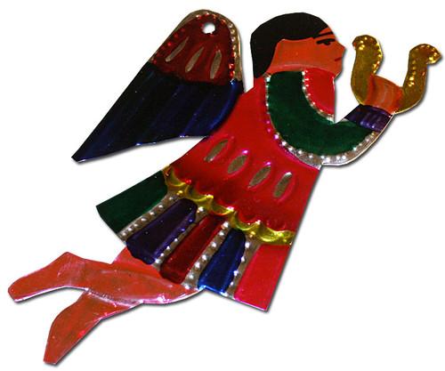 Mexican Tin Christmas Ornament - Angel Harp