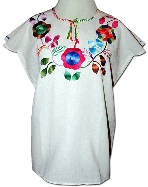 Embroidered Women's Oaxacan Peasant Floral Huipil Blouse M/L