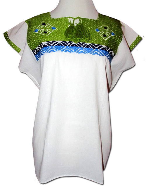 Embroidered Women's Oaxacan Peasant Green Huipil Blouse M