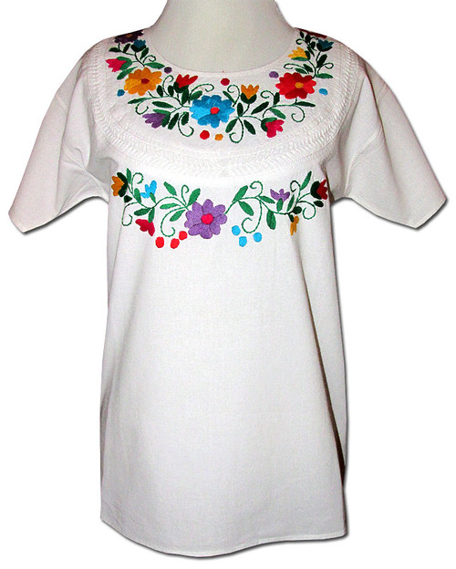 Embroidered Women's Oaxacan Peasant Floral Vines Blouse M/L