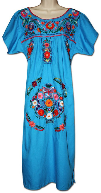 Turquoise Mexican Women's Embroidered Puebla Dress L