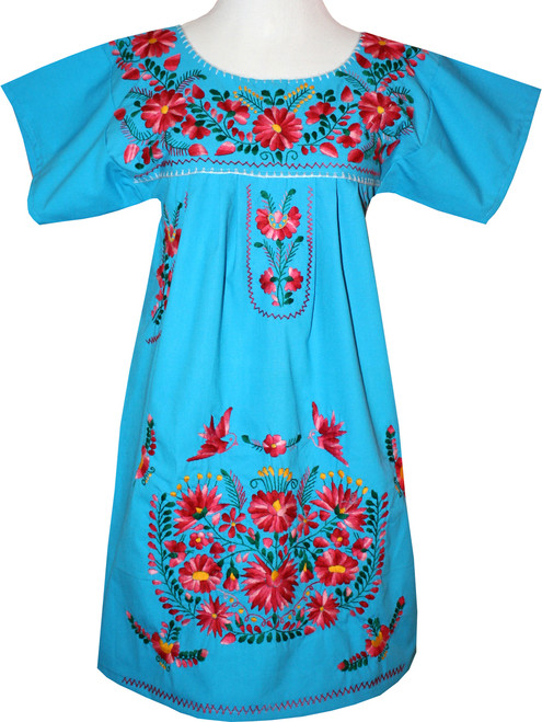 Turquoise Mexican Women's Embroidered Dress M