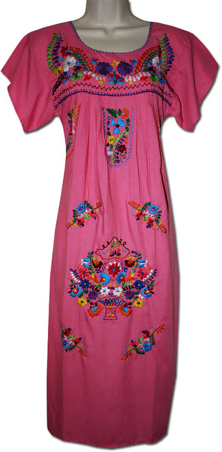Women's Pink Mexican Embroidered Puebla Dress XL