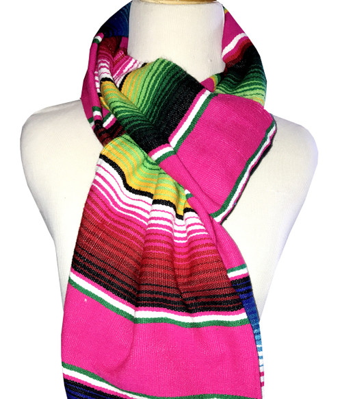 Mexican Blanket Serape Scarf - Pink