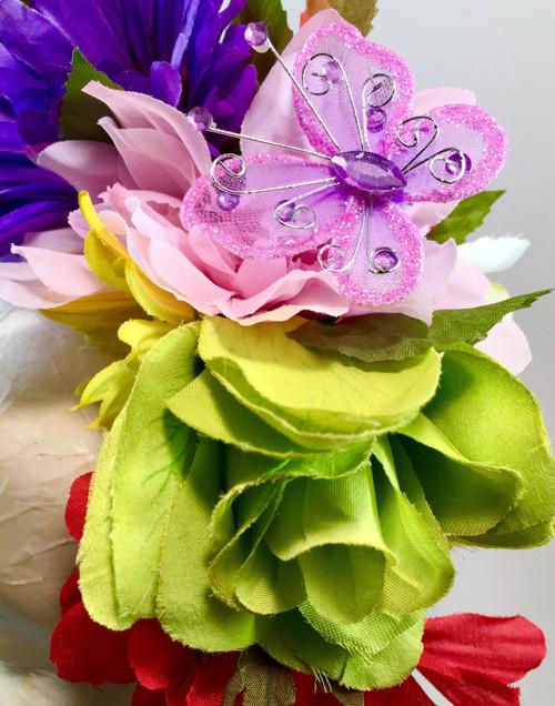 Mexican Women's Rainbow Flower Crown Wedding Headband