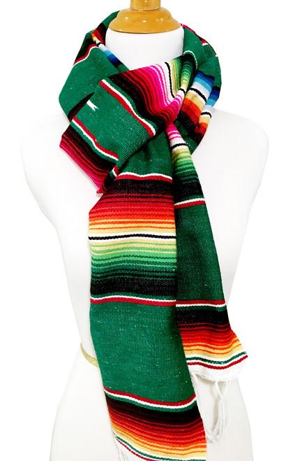 Mexican Blanket Serape Scarf Dark Green