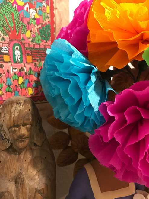 Mexican Crepe Paper Tissue Flowers - Set of 10