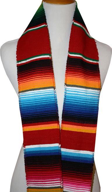 Graduation Stole Sash Mexican Serape Ethnic Scarf Red