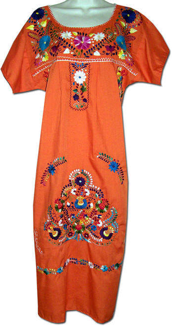 Orange Women's Mexican Embroidered Puebla Dress M
