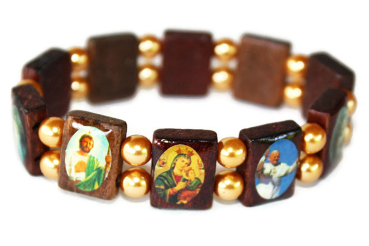 Mexican Catholic Saints Bracelet with Glass Beads