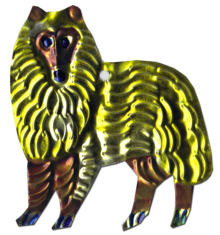 Mexican Tin Christmas Ornament - Dog