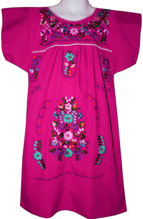 Mexican Fiesta Girl's Embroidered Dress Pink Size 4