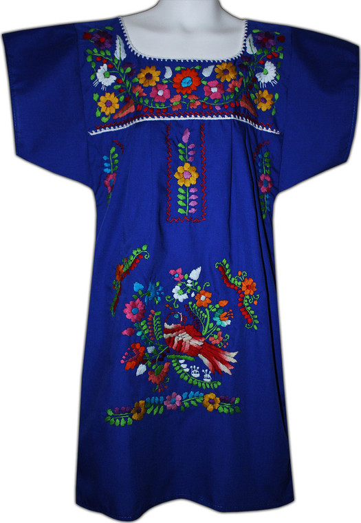 Girl's Mexican Fiesta Embroidered Dress Royal Blue Size 3