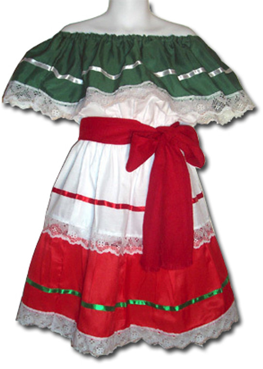 Girl's Mexican Fiesta Traditional Dress Size 4