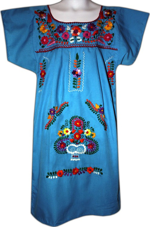 Girl's Mexican Fiesta Embroidered Dress Turquoise Size 4