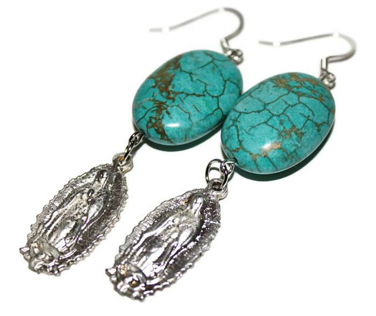 Turquoise Virgen de Guadalupe Milagro Earrings