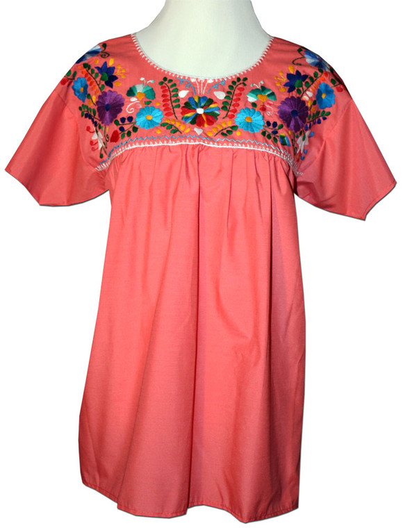 Mexican Embroidered Women's Blouse Orange M