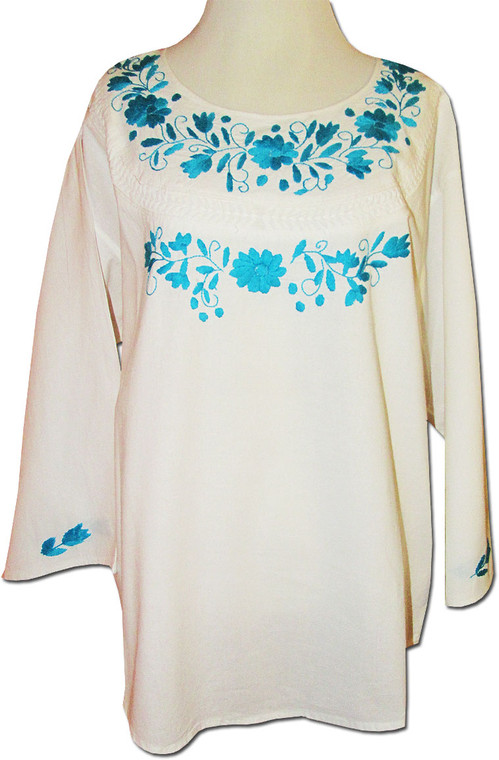 Embroidered Women's Oaxacan Peasant White Huipil Blouse XL