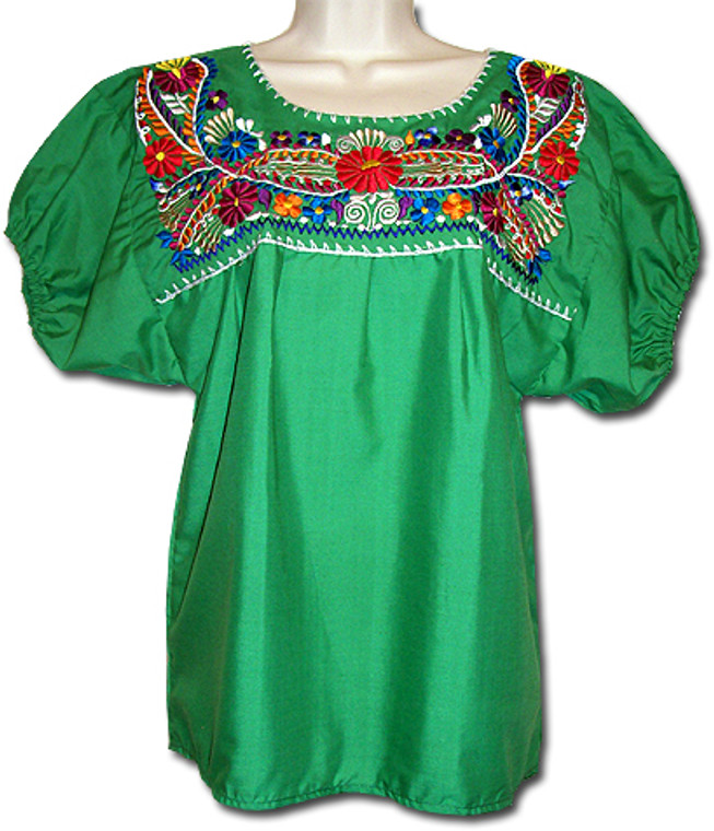 Mexican Embroidered Women's Blouse Green M