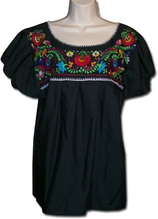 Mexican Embroidered Women's Blouse Black M