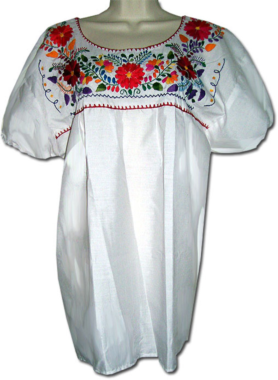 Mexican Puebla Women's Embroidered Blouse White XL