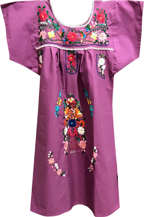 Girl's Mexican Fiesta Embroidered Dress Pink Size 6