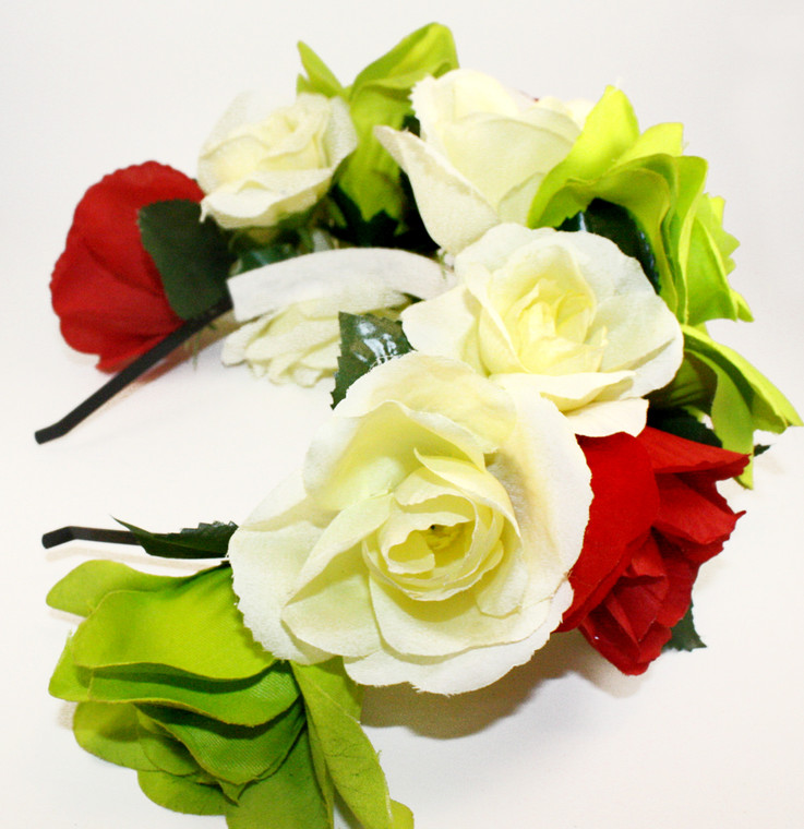 Mexican Women's Red White Green Rose Flower Crown