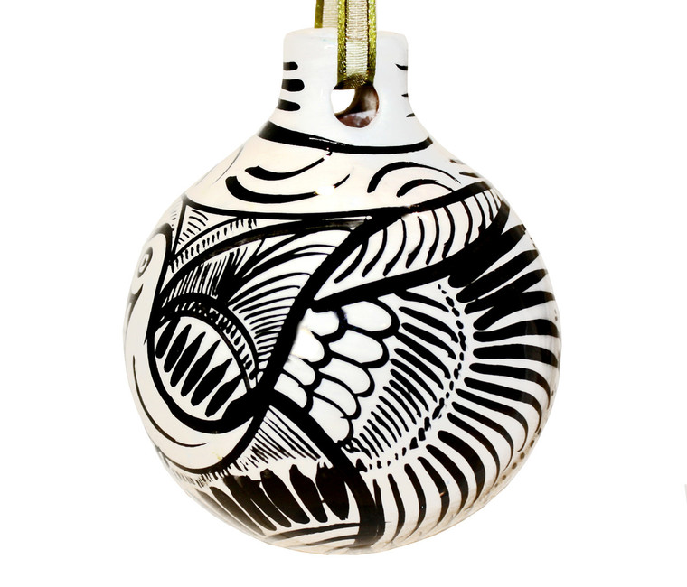 Mexican Pottery Christmas Ornament Decoration - White and Black