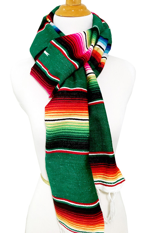 Mexican Blanket Serape Scarf Dark Green
