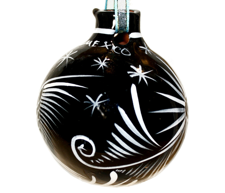 Mexican Pottery Christmas Ornament - Black and White