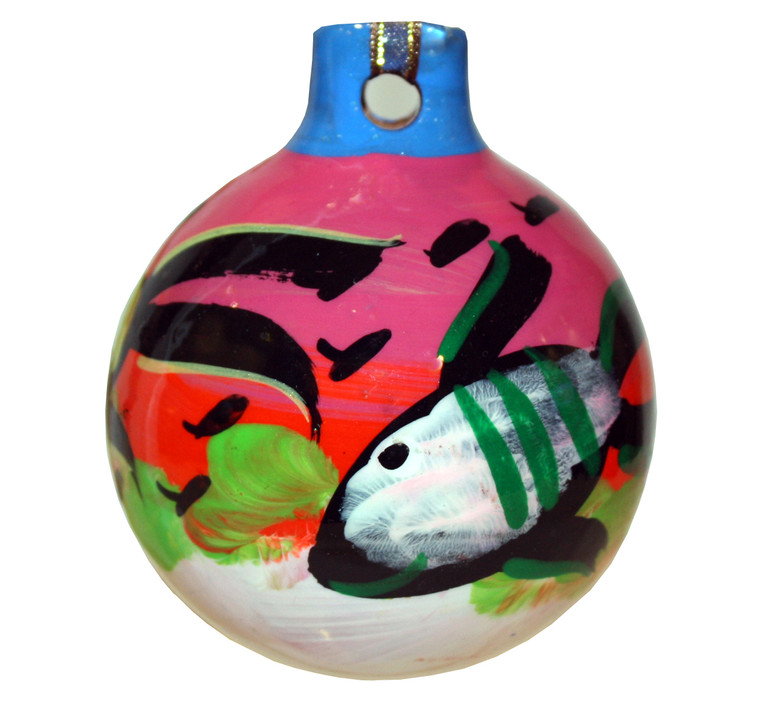 Mexican Pottery Christmas Ornament - Pink fish ball
