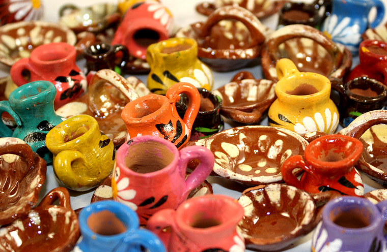 Mexican Clay Pottery Doll House Miniature Dishes - Set Of 20