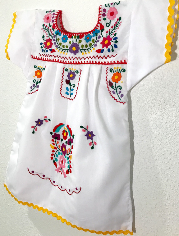 Girls Mexican Embroidered Dress Size 12 Months - Yellow