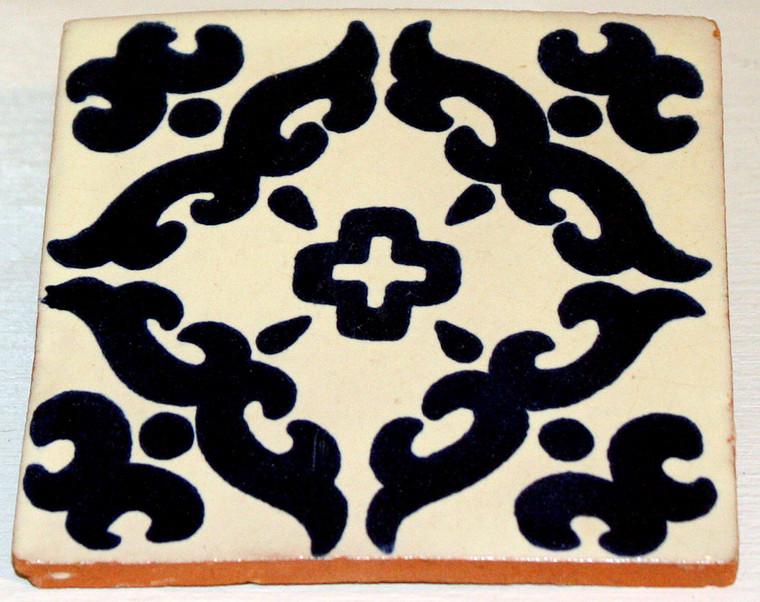 Mexican Talavera Tile - Blue Scrolls