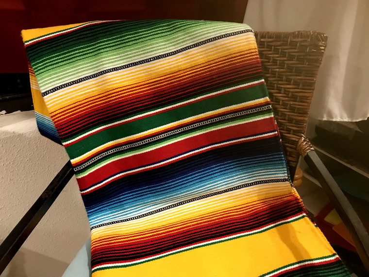 Mexican Serape Blanket - Yellow