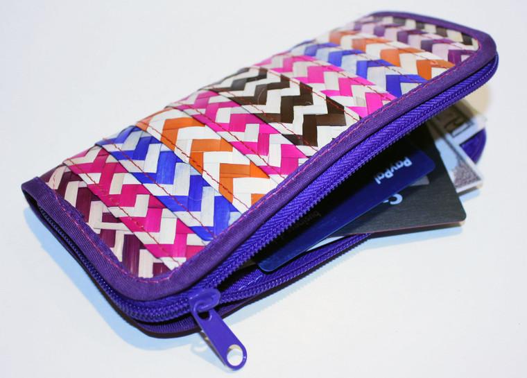 Mexican Palm Woven Wallet Zipper