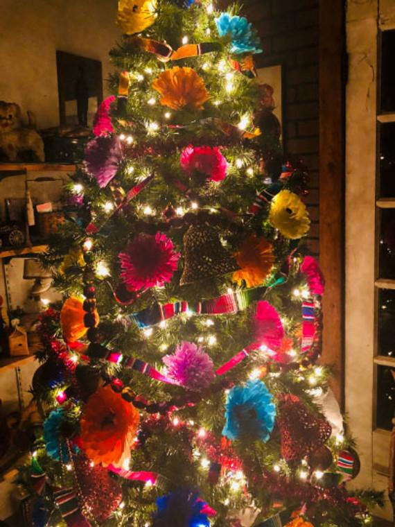 Mexican Serape Christmas Garland Wreath Mantle