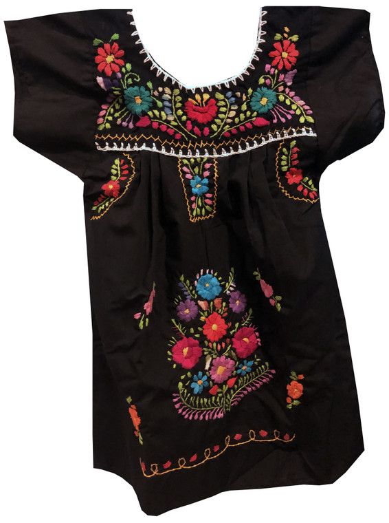 Girl's Mexican Fiesta Embroidered Puebla Dress Black Size 3
