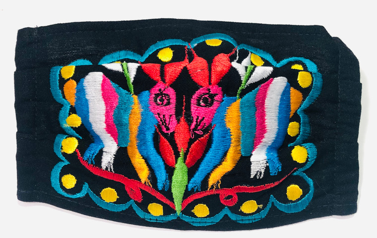Mexican Embroidered Face Mask Cotton Black