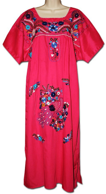 Red Women's Mexican Embroidered Puebla Dress S
