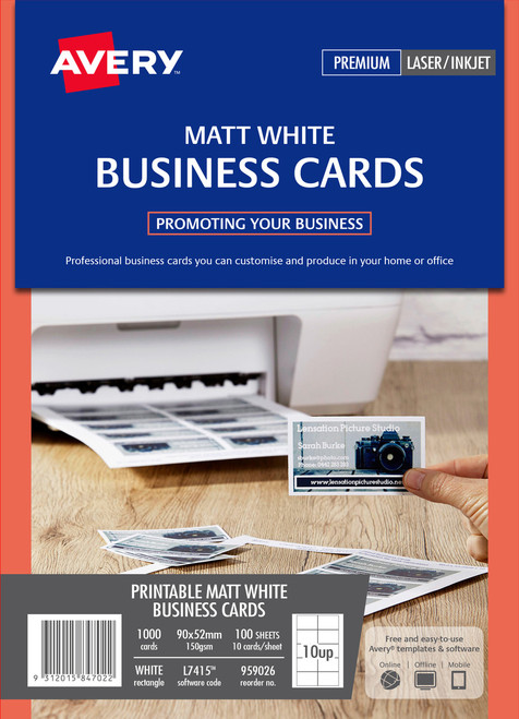Avery Matt Finish Business cards for Laser, Inkjet Printers, 90 x 52 mm, 1000 cards, 150 g/m² (959026 / L7415)